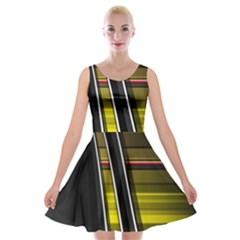 Abstract Multicolor Vectors Flow Lines Graphics Velvet Skater Dress