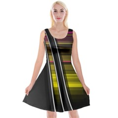 Abstract Multicolor Vectors Flow Lines Graphics Reversible Velvet Sleeveless Dress