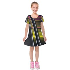 Abstract Multicolor Vectors Flow Lines Graphics Kids  Short Sleeve Velvet Dress