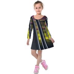 Abstract Multicolor Vectors Flow Lines Graphics Kids  Long Sleeve Velvet Dress