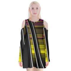 Abstract Multicolor Vectors Flow Lines Graphics Velvet Long Sleeve Shoulder Cutout Dress