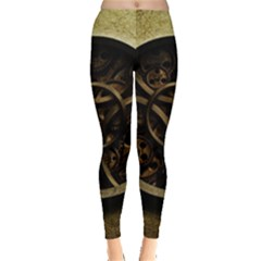Abstract Steampunk Textures Golden Leggings