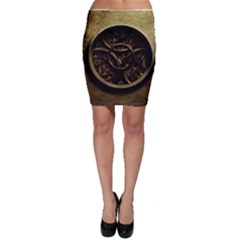Abstract Steampunk Textures Golden Bodycon Skirt