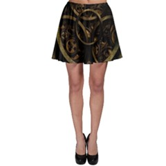 Abstract Steampunk Textures Golden Skater Skirt