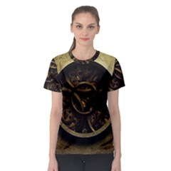 Abstract Steampunk Textures Golden Women s Sport Mesh Tee