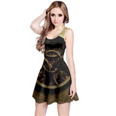 Abstract Steampunk Textures Golden Reversible Sleeveless Dress