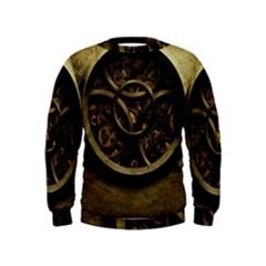 Abstract Steampunk Textures Golden Kids  Sweatshirt