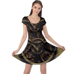 Abstract Steampunk Textures Golden Cap Sleeve Dresses