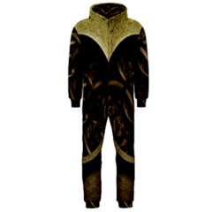 Abstract Steampunk Textures Golden Hooded Jumpsuit (men)