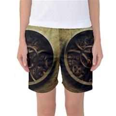 Abstract Steampunk Textures Golden Women s Basketball Shorts