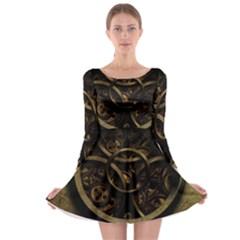 Abstract Steampunk Textures Golden Long Sleeve Skater Dress
