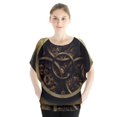 Abstract Steampunk Textures Golden Blouse