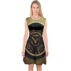 Abstract Steampunk Textures Golden Capsleeve Midi Dress