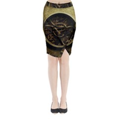 Abstract Steampunk Textures Golden Midi Wrap Pencil Skirt