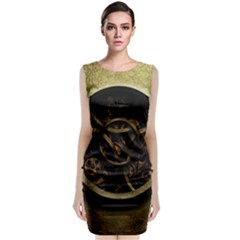 Abstract Steampunk Textures Golden Sleeveless Velvet Midi Dress