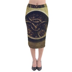 Abstract Steampunk Textures Golden Velvet Midi Pencil Skirt