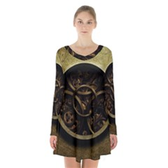 Abstract Steampunk Textures Golden Long Sleeve Velvet V Neck Dress