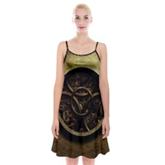 Abstract Steampunk Textures Golden Spaghetti Strap Velvet Dress
