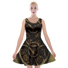 Abstract Steampunk Textures Golden Velvet Skater Dress