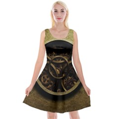 Abstract Steampunk Textures Golden Reversible Velvet Sleeveless Dress