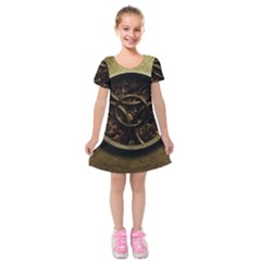 Abstract Steampunk Textures Golden Kids  Short Sleeve Velvet Dress