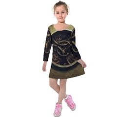 Abstract Steampunk Textures Golden Kids  Long Sleeve Velvet Dress
