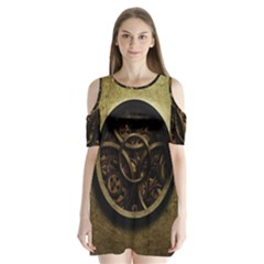Abstract Steampunk Textures Golden Shoulder Cutout Velvet  One Piece