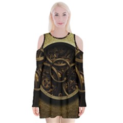 Abstract Steampunk Textures Golden Velvet Long Sleeve Shoulder Cutout Dress