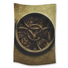 Abstract Steampunk Textures Golden Large Tapestry