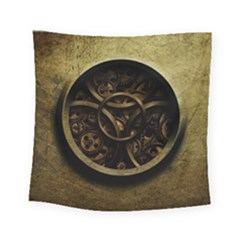 Abstract Steampunk Textures Golden Square Tapestry (small)