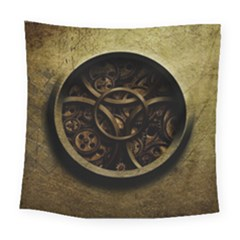 Abstract Steampunk Textures Golden Square Tapestry (Large)