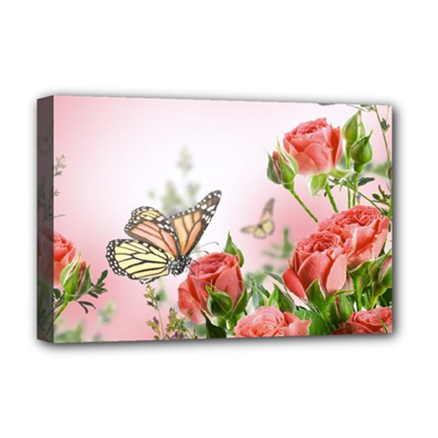 Flora Butterfly Roses Deluxe Canvas 18  x 12