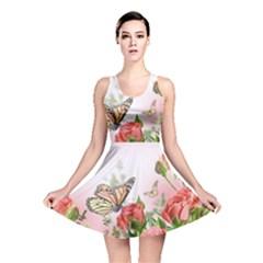 Flora Butterfly Roses Reversible Skater Dress
