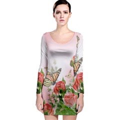 Flora Butterfly Roses Long Sleeve Bodycon Dress
