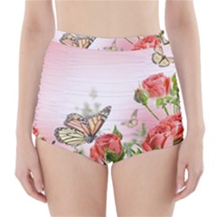 Flora Butterfly Roses High-Waisted Bikini Bottoms