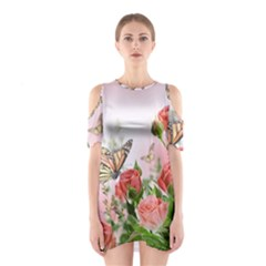 Flora Butterfly Roses Shoulder Cutout One Piece