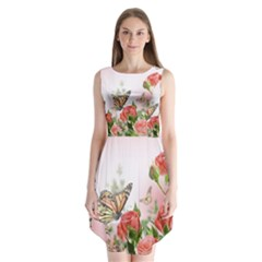 Flora Butterfly Roses Sleeveless Chiffon Dress