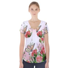 Flora Butterfly Roses Short Sleeve Front Detail Top