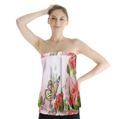Flora Butterfly Roses Strapless Top