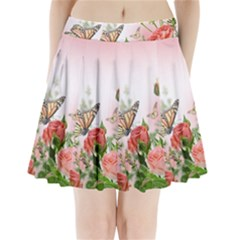 Flora Butterfly Roses Pleated Mini Skirt