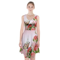 Flora Butterfly Roses Racerback Midi Dress