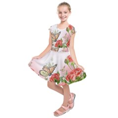 Flora Butterfly Roses Kids  Short Sleeve Dress