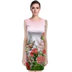 Flora Butterfly Roses Sleeveless Velvet Midi Dress