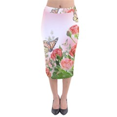 Flora Butterfly Roses Velvet Midi Pencil Skirt