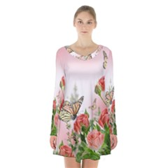 Flora Butterfly Roses Long Sleeve Velvet V Neck Dress
