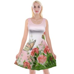 Flora Butterfly Roses Reversible Velvet Sleeveless Dress