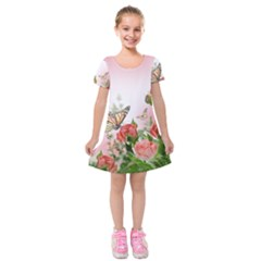 Flora Butterfly Roses Kids  Short Sleeve Velvet Dress