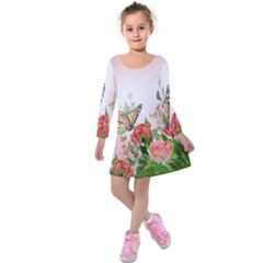 Flora Butterfly Roses Kids  Long Sleeve Velvet Dress