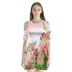 Flora Butterfly Roses Shoulder Cutout Velvet  One Piece