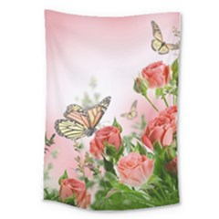 Flora Butterfly Roses Large Tapestry